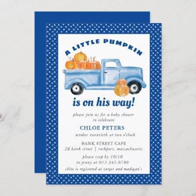 Little Pumpkin Boy Blue Truck Fall Baby Shower Invitation