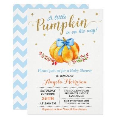 Little Pumpkin Boy Gold Blue Fall
