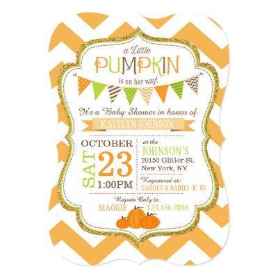 Little Pumpkin Chevron Baby Shower Invitation
