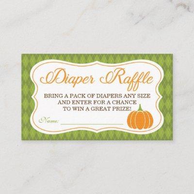 Little Pumpkin Diaper Raffle Ticket Enclosure Card
