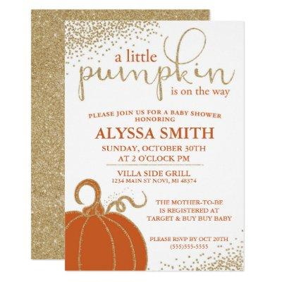 Little Pumpkin Fall Baby Shower Invitations