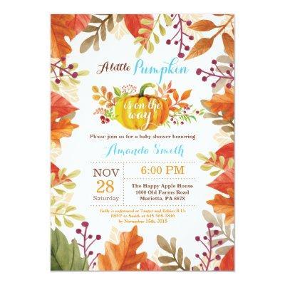 Little Pumpkin Fall Boy Baby Shower Invitation
