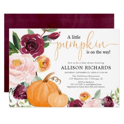 Little pumpkin fall floral girl baby shower invitation
