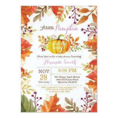 Little Pumpkin Fall Girl Baby Shower Invitations