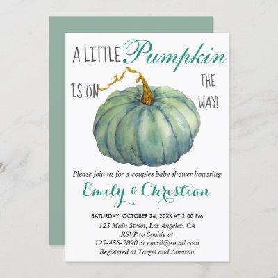 Little Pumpkin Fall Green Couples Baby Shower Invitation