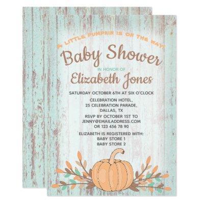 Little Pumpkin Fall Rustic Baby Shower Invitations