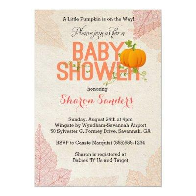 Little Pumpkin- Fall Themed Invitations
