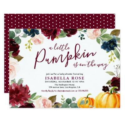 Little pumpkin floral baby shower invitation