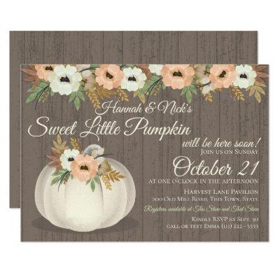 Little Pumpkin Floral Baby Shower Invitations