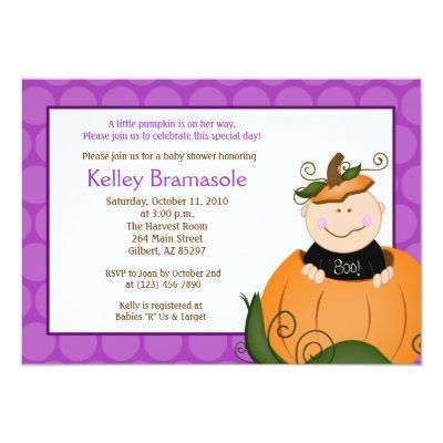 Little Pumpkin Girl Baby Shower Invitation