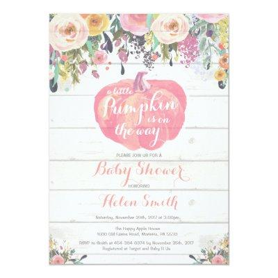 Little Pumpkin Girl Baby Shower Invitations Card