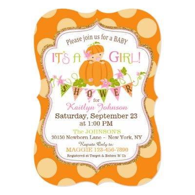 Little Pumpkin Girl Fall Baby Shower Invitations