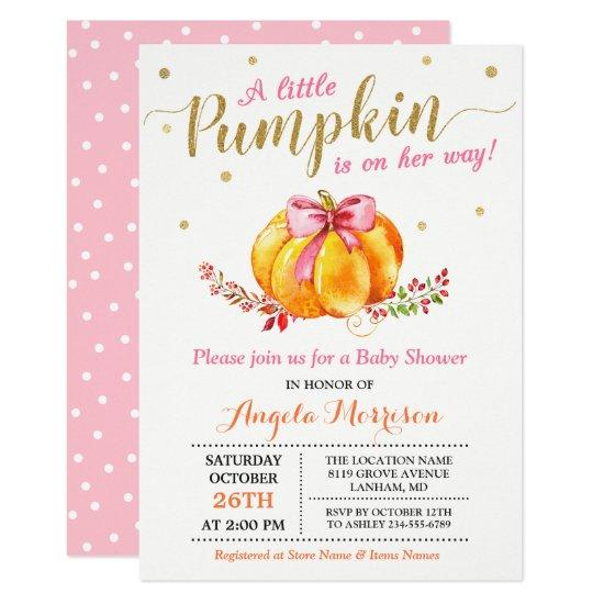 Little Pumpkin Girl Gold Pink Fall Baby Shower Card