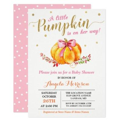 Little Pumpkin Girl Gold Pink Fall Baby Shower Invitations