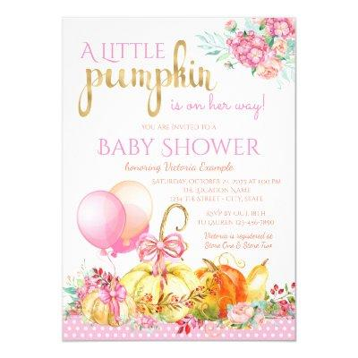 Little Pumpkin Girls Fall Invitations