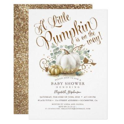 Little Pumpkin Gold Glitters Fall Baby Shower Invitation