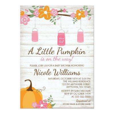 Little Pumpkin Mason Jars Fall Girl Invitations