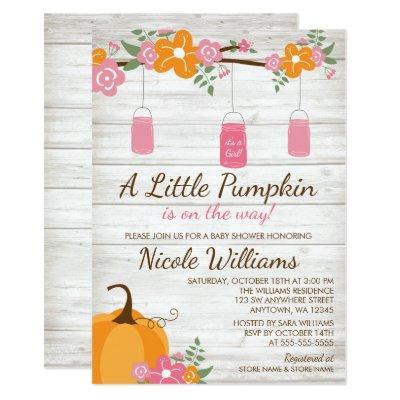 Little Pumpkin Mason Jars Fall Girl Baby Shower Invitation