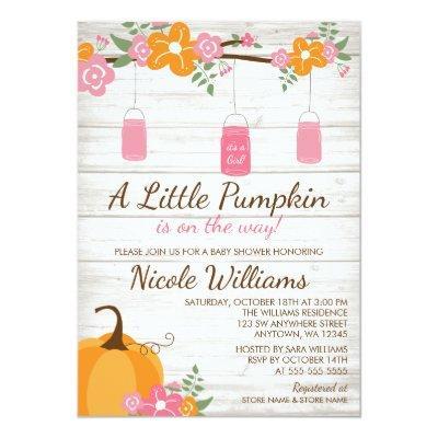 Little Pumpkin Mason Jars Fall Girl