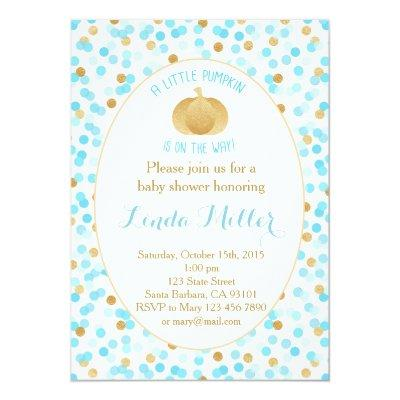 Little Pumpkin on the Way Invitations Blue Gold