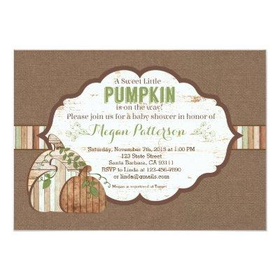 Little Pumpkin on the Way! Rustic Baby Shower Invitations