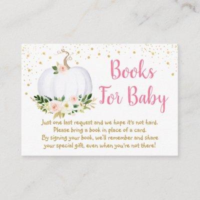 Little Pumpkin Pink Gold Baby Shower Book Request Enclosure Card