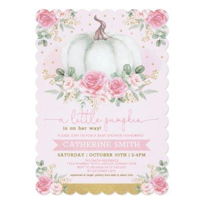 Little Pumpkin Pink Gold Floral Fall Baby Shower Invitation