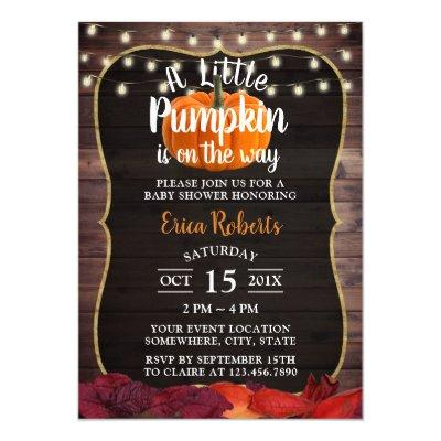 Little Pumpkin Rustic Autumn Leaves Baby Shower Invitations