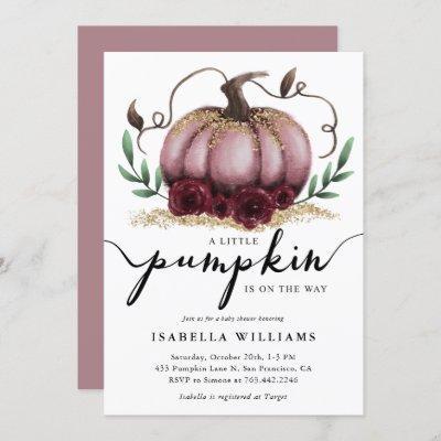 Little Pumpkin Rustic Pink Gold Baby Shower Invitation