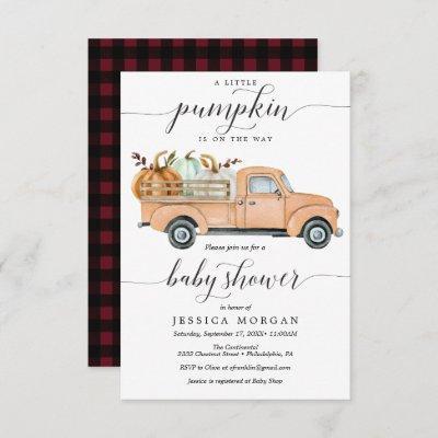 Little Pumpkin Truck Baby Shower Invitation Card