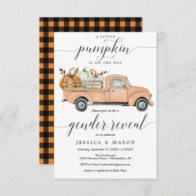 Little Pumpkin Truck Gender Reveal Invitation Card