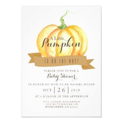 Little Pumpkin | Watercolor | Invite