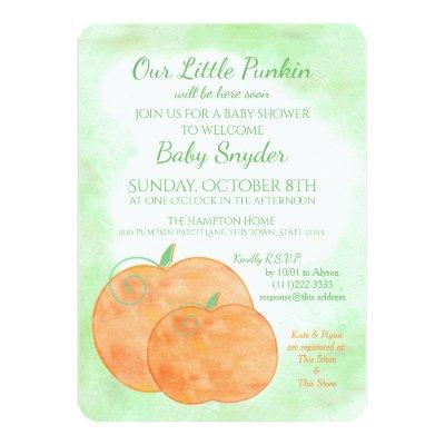 Little Pumpkin Watercolor Halloween Baby Shower Invitation