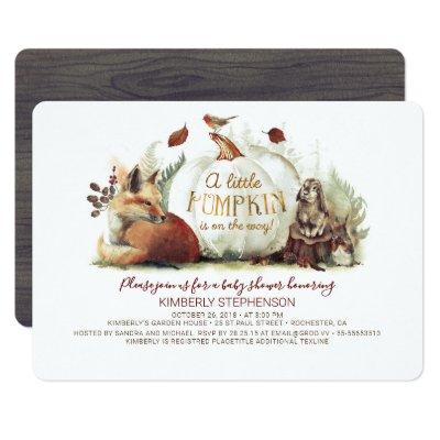 Little Pumpkin Woodland Animals Fall Baby Shower Invitation