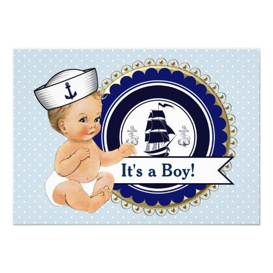 Little Sailor Baby Boy Nautical Baby Shower Card