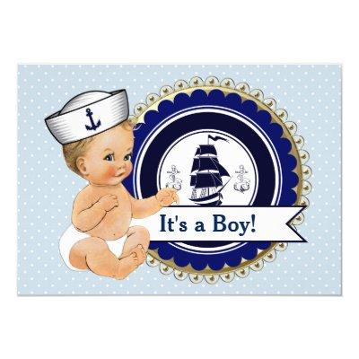 Little Sailor Baby Boy Nautical Baby Shower Invitation