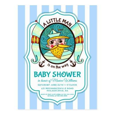 Little Sailor Baby Shower Invitation Postcard