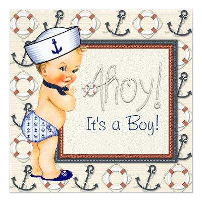 Little Sailor Boy Nautical Baby Shower Blonde Invitation