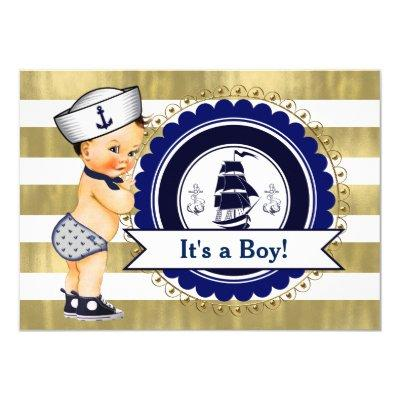 Little Sailor Boy Nautical Baby Shower Invitation