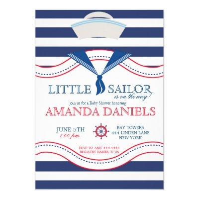 Little Sailor Nautical Baby Shower invitations