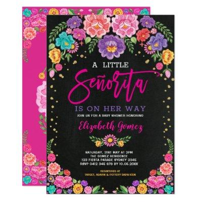 Little Senorita Floral Fiesta Girl Baby Shower Invitation