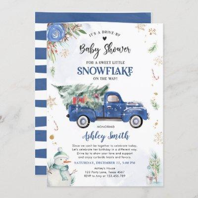 Little Snowflake Drive By Winter Truck Baby Shower Invitation