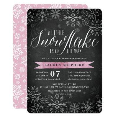 Little Snowflake Pink Chalkboard Baby Shower Invitation