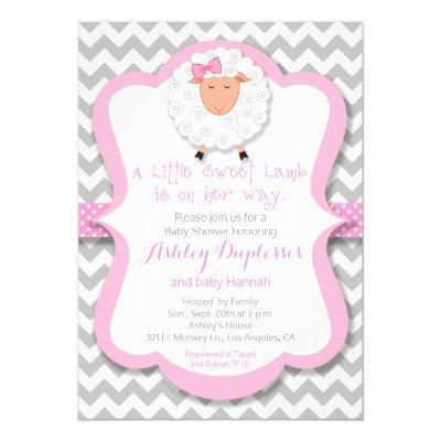 Little Sweet Lamb Girl Baby Shower Invitation