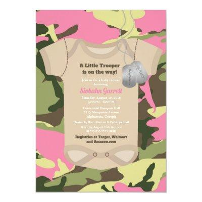 Military baby girl shower invitations baby shower invitations baby little trooper army military girl camo filmwisefo