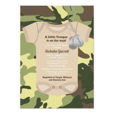 Army baby shower invitations baby shower invitations baby shower army green camouflage baby boy shower invitations little trooper army or military camo filmwisefo