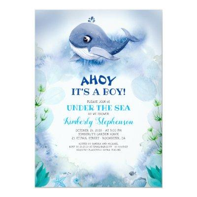 Little Whale Nautical Under the Sea Baby Shower Invitation