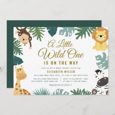 little wild one baby shower invitation
