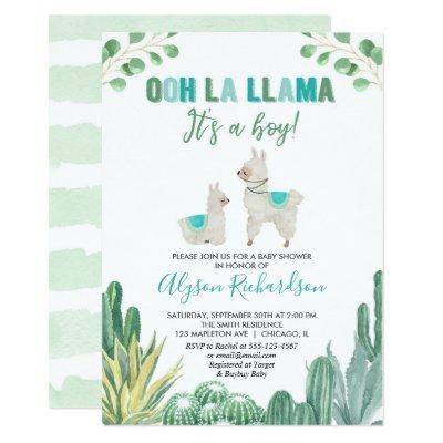 Llama and cactus boy baby shower invitation