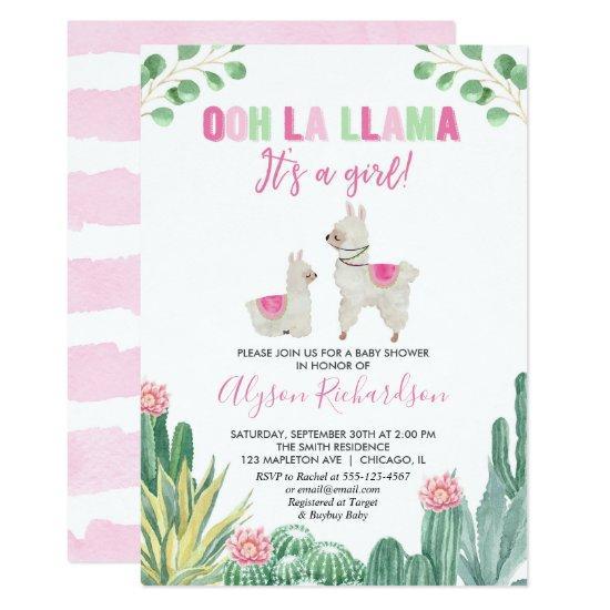 Llama and cactus girl baby shower invitation